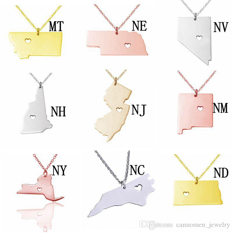New York Map Stainless Steel Pendant Necklace with Love Heart USA State NY Geography Map Necklaces Jewelry for Women and Men