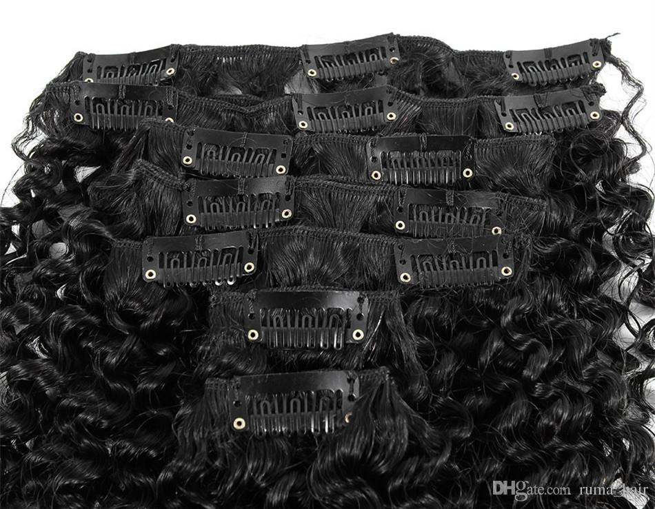 African American Afro Kinky Curl Clip In Hair Extensions 16 Clips Peruvian Human Hair Natural Black Kinky Curly Clip In Hair Extensions