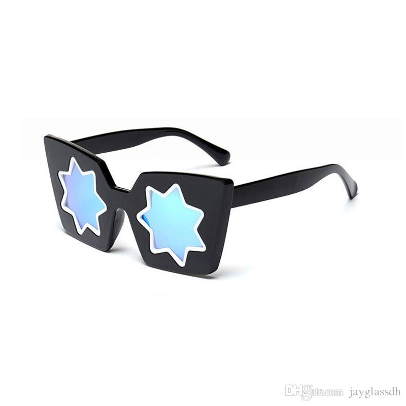 Brand Girl Christmas Gift Cat Eye Sunglasses Vintage Unique Style Glasses Women Five-Pointed Star Sunglasses Dazzle Mirror Christmas Present