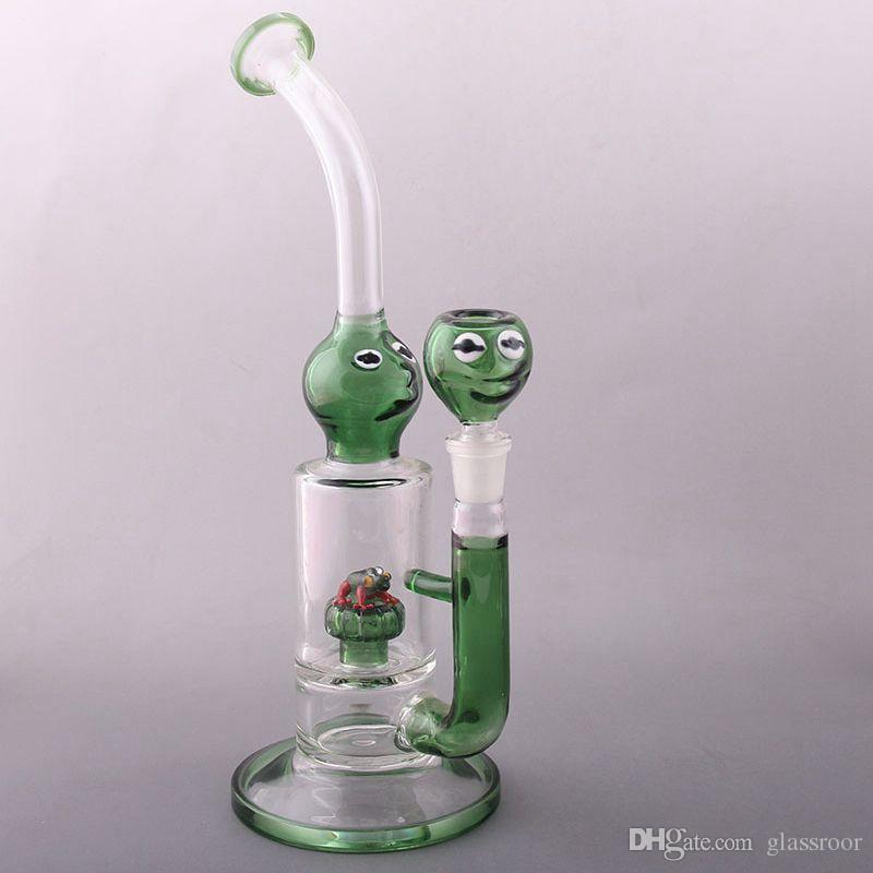 glass bong frog 11 inch Glass Bong Glass Oil Rigs Glass Bongs manual blowing Bong Unique Shape Bubbler Glass bong