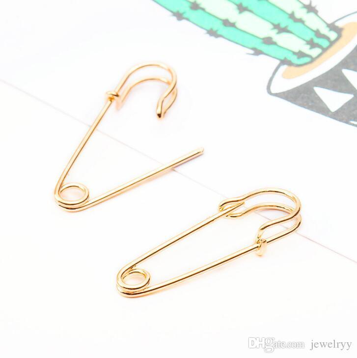 Moda Punk Earring Antique Pin de seguridad Silver Gold Plated Aleación Pendiente Stud para mujeres Niñas Party Jewelry