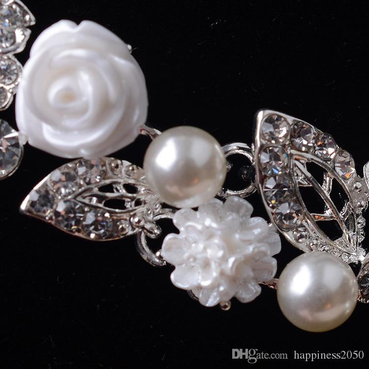 Beauty Silver Flower Bridal Necklace Earring Suits Jewelry Suits Wedding Bridal Jewelry P419014
