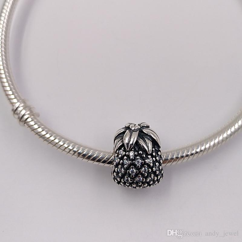 Genuine S925 Sterling Silver Beads Sparkling Pineapple Charm Fit Pandora ALE Style Bracelets & Necklace