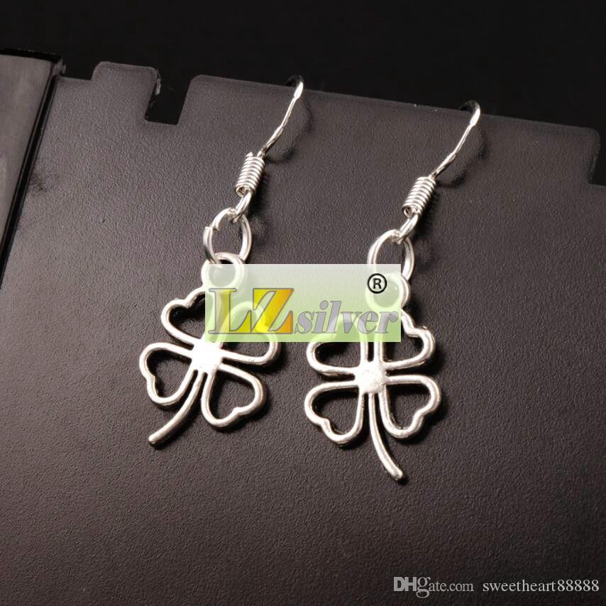 Open Heart Clover Earrings 925 Silver Fish Ear Hook Antique Silver Chandelier E368 11.3x34mm
