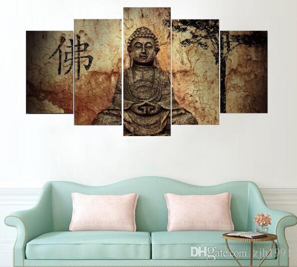 5 Panneaux Zen Bouddha Moderne Maison Mur Peintures Modernes Toile Art HD Impression Peinture Toile Mur Photo Pour La Décoration Intérieure Bouddha