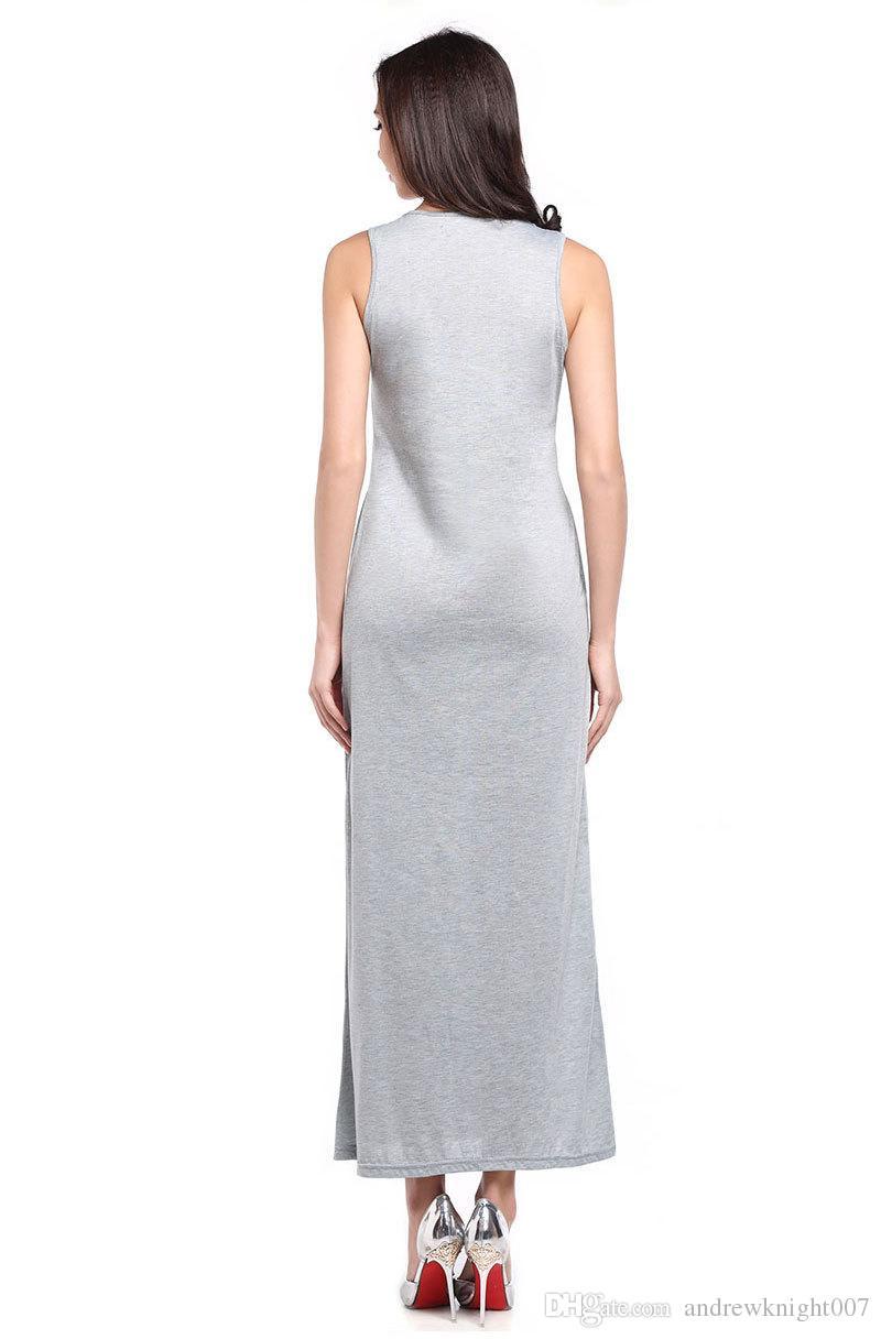 Cat Print Long Maxi Dress 2018 Summer Sundresses Boho Sleeveless Sexy Beach Dresses Women Bodycon Dress Vestidos Mujer