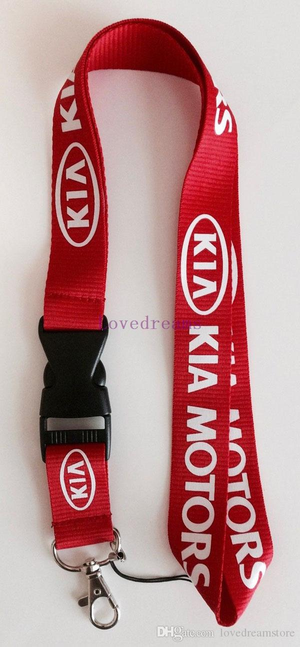 men's automobile/ car KIA logo Red KEY Chain Lanyard neck lanyards Cell Phone Straps Charms ID Holder
