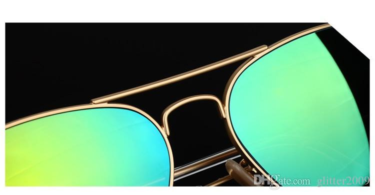 High Quality Color film lenses Mirror sunglasses Unisex sunglasses mens sun glasses Woman glasses Glass Lens With box glitter2009
