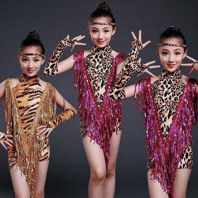 a73c7b20b Girls Professional Dancewear Latin Dance Dress Kids Tassels Sequins ...