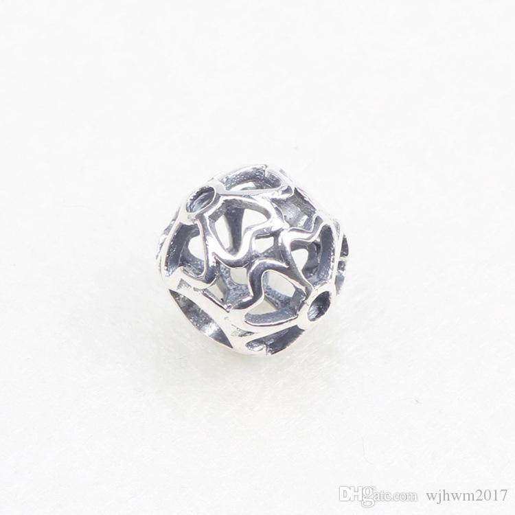 Calado Rose encantos de los granos auténticos 925 joyería de plata esterlina del grano de la flor para DIY marca logotipo pulseras joyería que hace accesorios