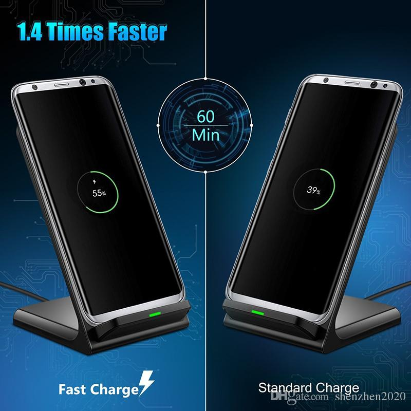 Wireless Charger Fast 2 Coils Qi quickWireless Charging Stand Pad for Apple iPhone X 8 8Plus Samsung Note 8 S8 S7 all Qi-enabled Smartphone