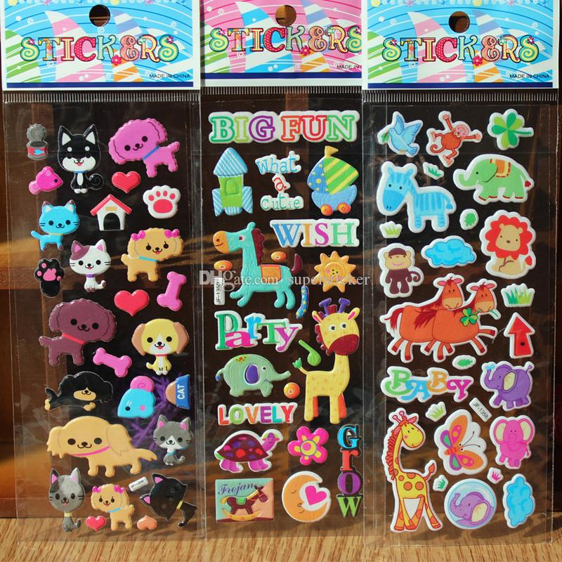 12 Sheets Kawaii Cute Fruits Pets Animals Scrapbooking Bubble Puffy Stickers Emoji Reward Kids Children Toys Car Sticker Bombing Wall Decals
