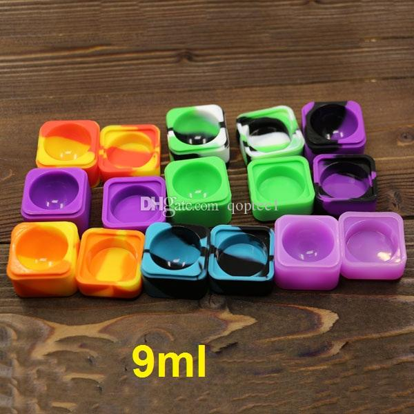 Caixa de óleo de cera de silicone Lego 9 ml silicone quadrado dab bho recipiente de silicone antiaderente extrato de óleo de cera recipiente bho