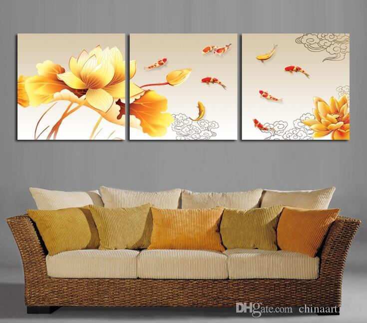 Oil Painting picture print on canvas 3 Panel Wall Art Painting Golden lotus nine fish print On Canvas