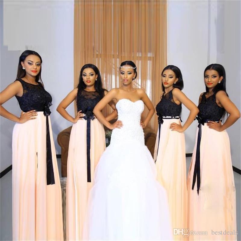 2017 새로운 블랙 탑 레이스 Appliqued 들러리 드레스 스팽글 파란색 구슬 긴시 폰 웨딩 파티 드레스 가운 2 색