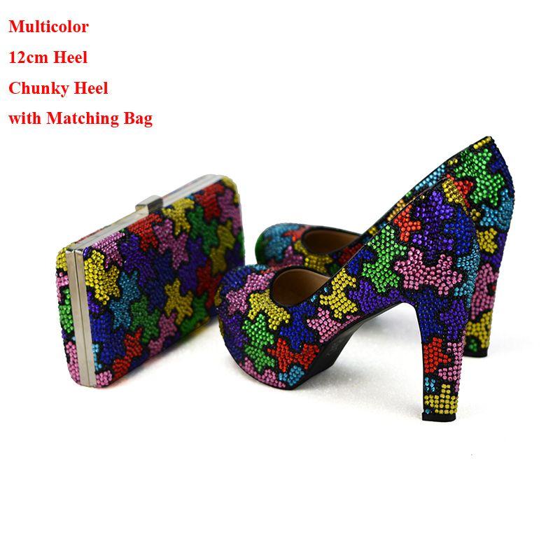 El yapımı Renkli Tıknaz Topuk Gelin Düğün Ayakkabı ile Debriyaj Zanaatkar Kadın Parti Balo Elbise Ayakkabı Eşleşen Çanta ile