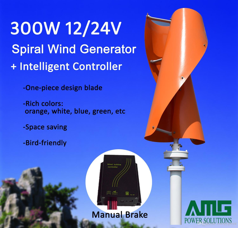 d6910ea6349 Compre 300 W 12 V   24 V Vertical Eixo Helix Uso Dom Gerador De Turbina  Eólica Gerador VAWT Ultra Low Wind Start Up + Controlador Inteligente De  Energygreen ...