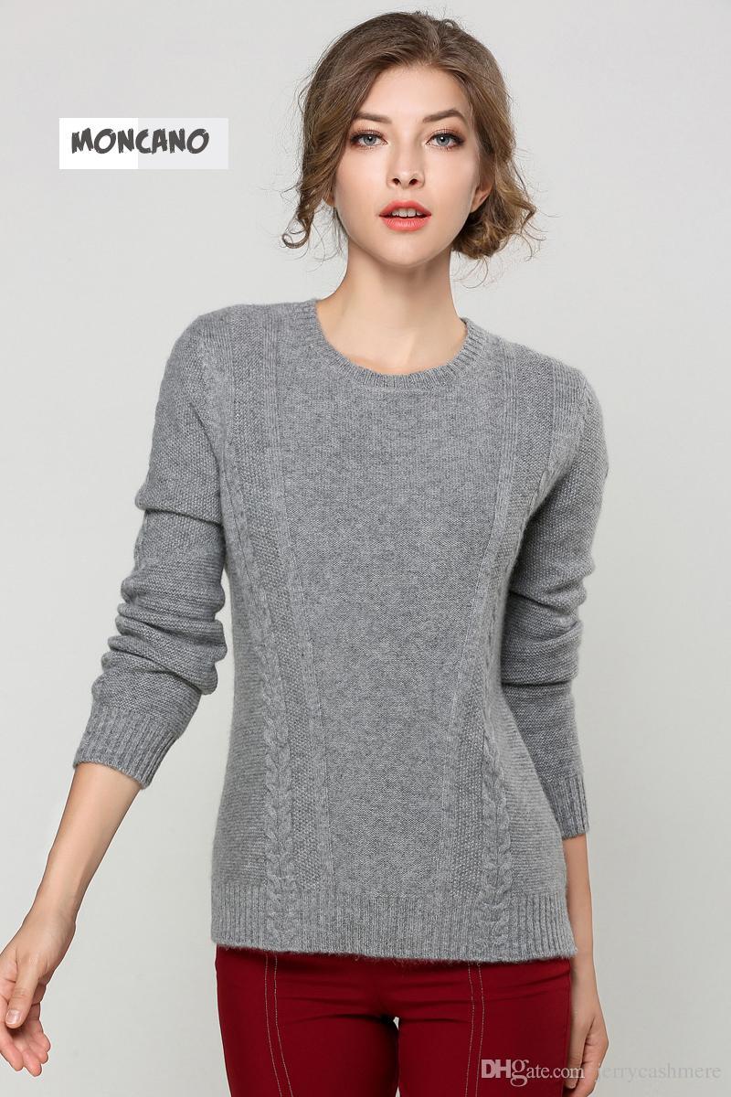 2018 Moncano 2017 New Pullover O Neck Women Sweater 100% Pure ...