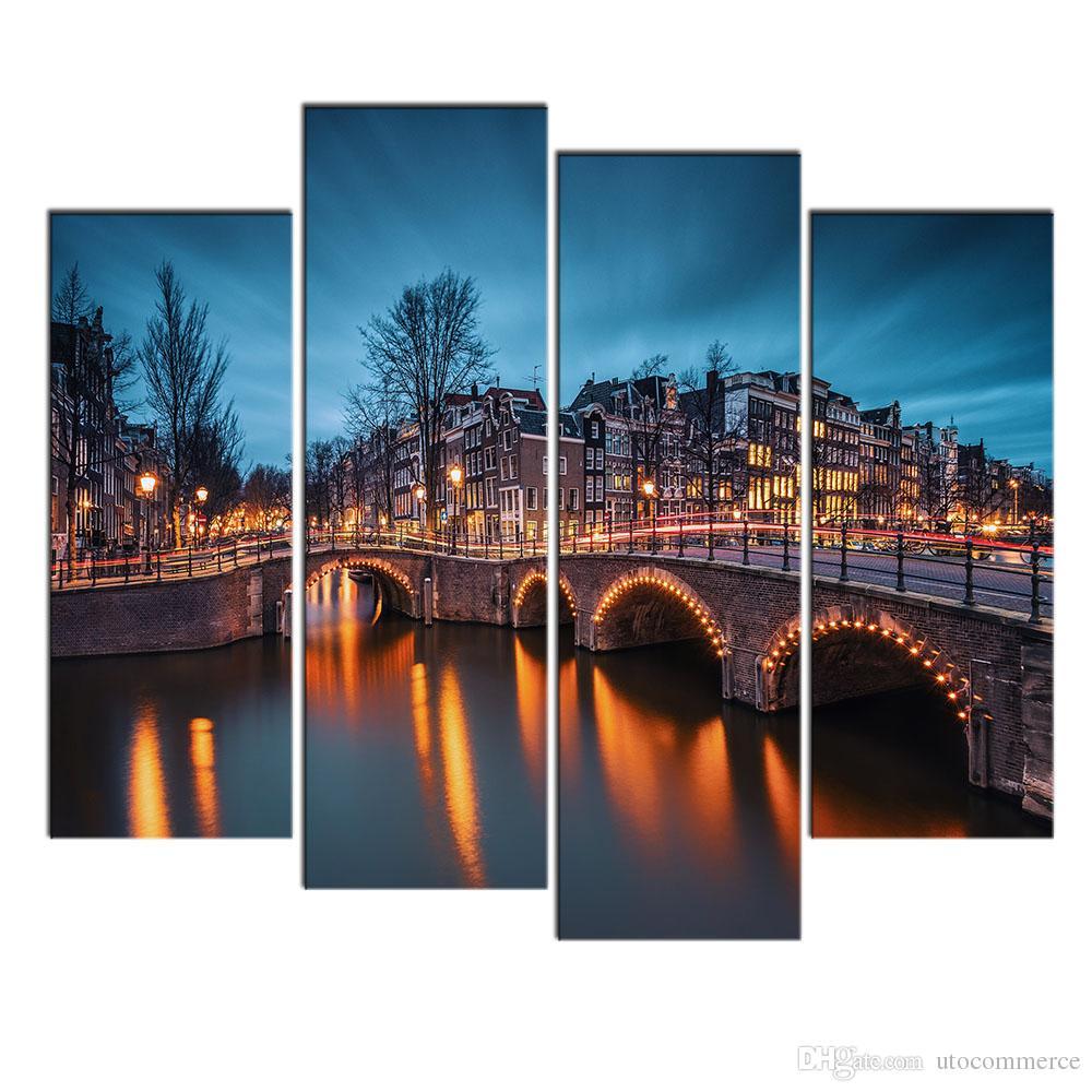 Modern Art Wall Decor Painting City Bridge Night View Landscape Canvas Pictures Custom Canvas Prints for Home Décor