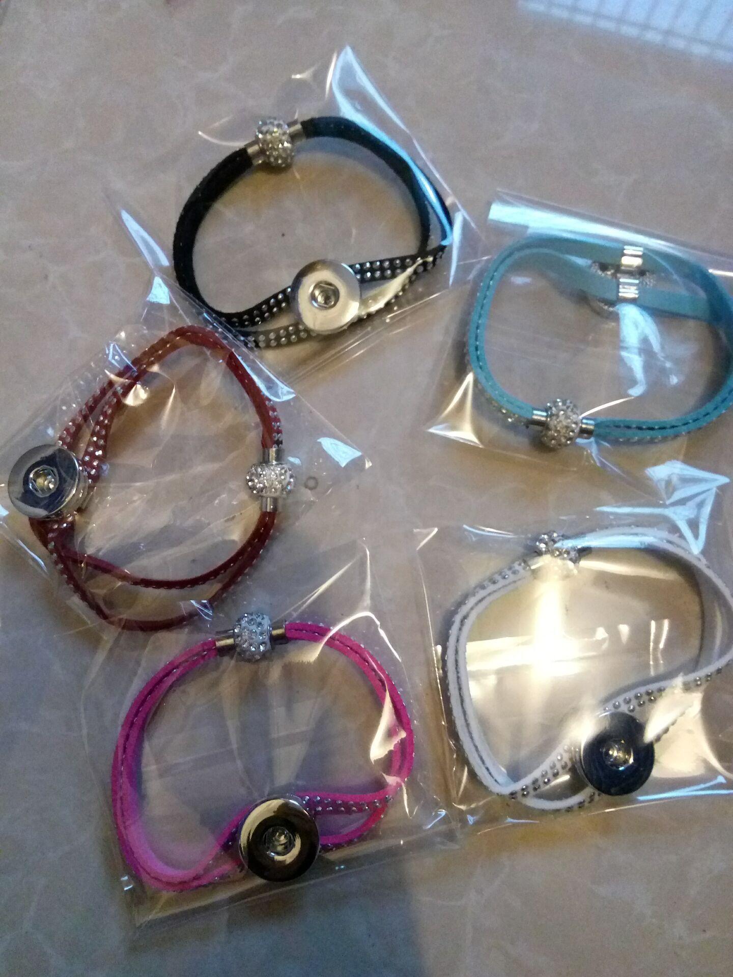 Noosa 2 rollos de cuero Crystal Rhinestone imán corchete de jengibre de metal 18mm Snap Buttons pulsera de joyería unisex