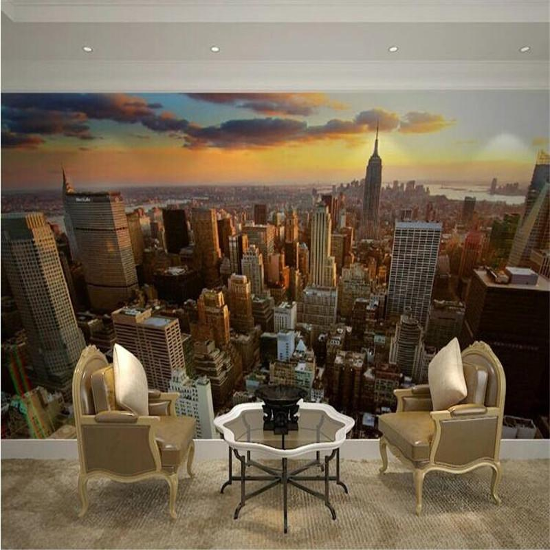 Custom 3d Mural Wallpaper City Evening Landscape Background Sofa