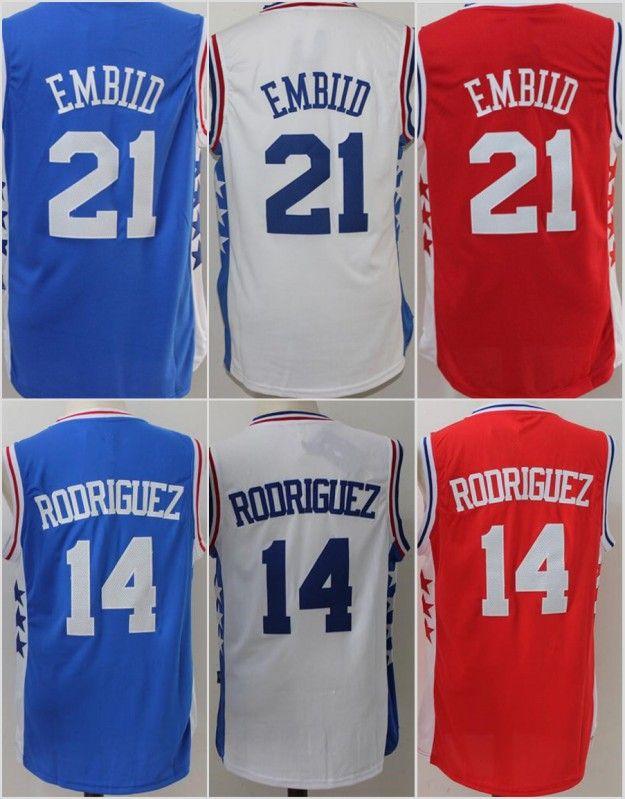 429d9d1c148 ... 2017 Stitched 21 Joel Embiid 14 Sergio Rodriguez Jerseys Shirt Team  Blue White Men Adidas NBA Philadelphia 76ers ...