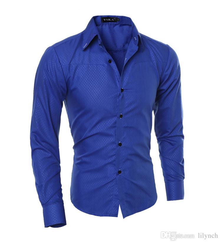 2017 повседневная рубашки мужская мода с длинным рукавом плед рубашка camisa masculina мужчины рубашка сплошной цвет рубашки мужской бренд Clothing M-5XL