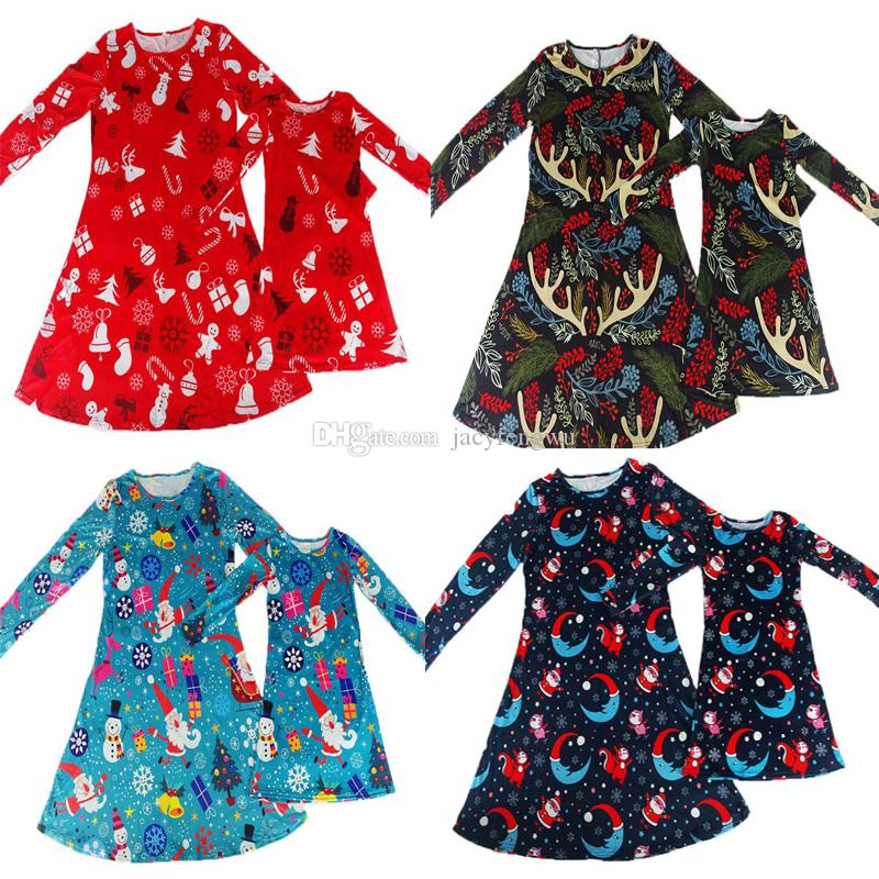 mom mother daughter Christmas clothes dress family matching girls Christmas  skirts home suits Children clothing Baby - Mom Mother Daughter Christmas Clothes Dress Family Matching Girls
