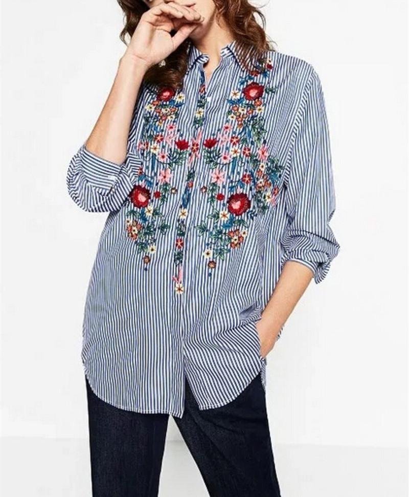 High Quality Women Fashion Blouse Three Quarter Sleeve Blouse Loose Embroidered  Shirt Work Casual Retro Linen