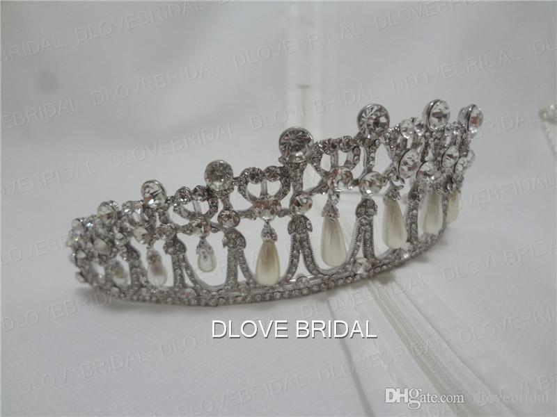 Klassische Prinzessin Diana Same Pearl Crown Kristall Tiara Brautschmuck Hochzeit Haarschmuck mit Real Photo Qualität Kostenloser Versand
