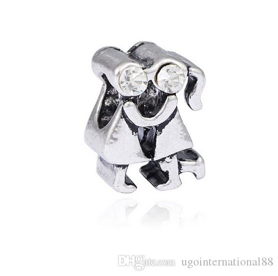 Wholesale 925 Silver Plated European Charm Beads Boy and Girl Lover Charms Bead Fit Women Pandora Bracelet Bangle Diy Jewelry