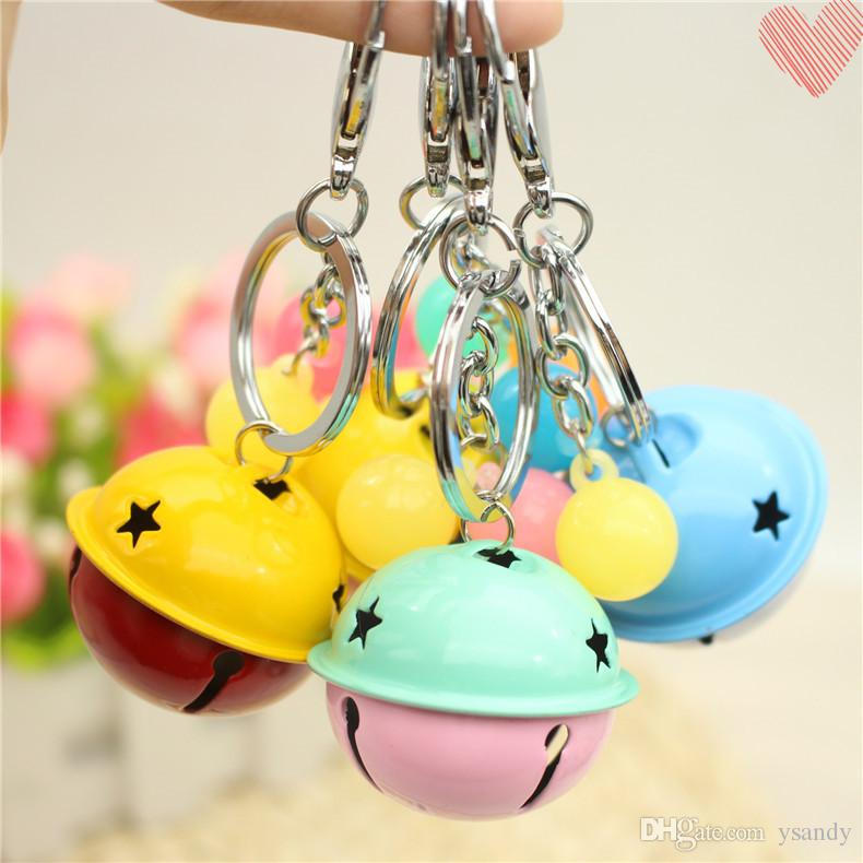 Popular Fashion Big Bell Keychain 4 cm Cute Car Key Chain Gift for Students Kids Wholesale 100 pcs a lot