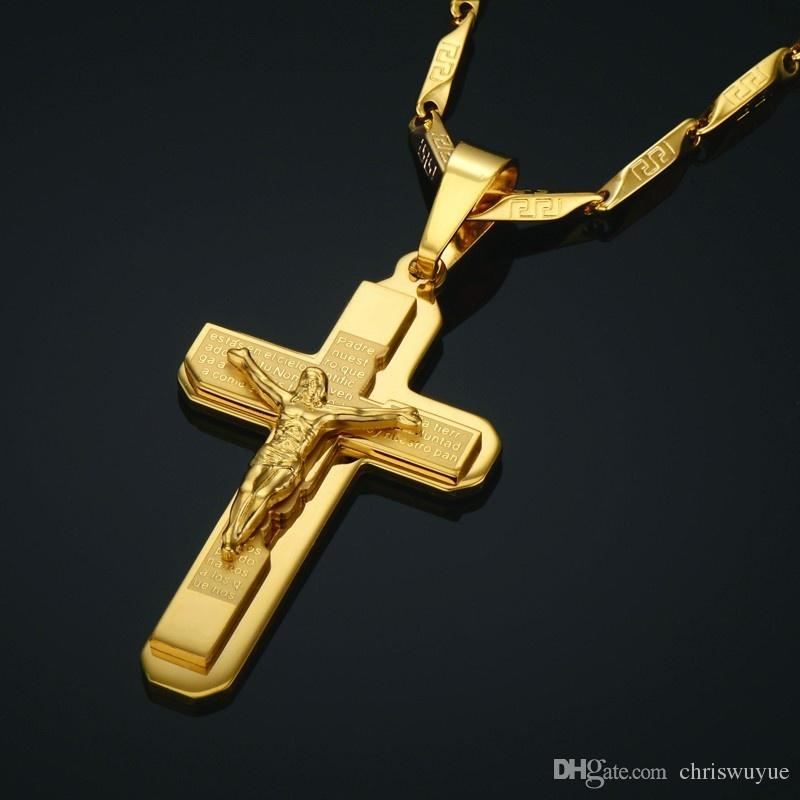 JESUE Cross Pendants For Men Jewelry Stainless Steel 18k Gold Plated Jesus Piece Cross Pendant Necklace Chain NP93