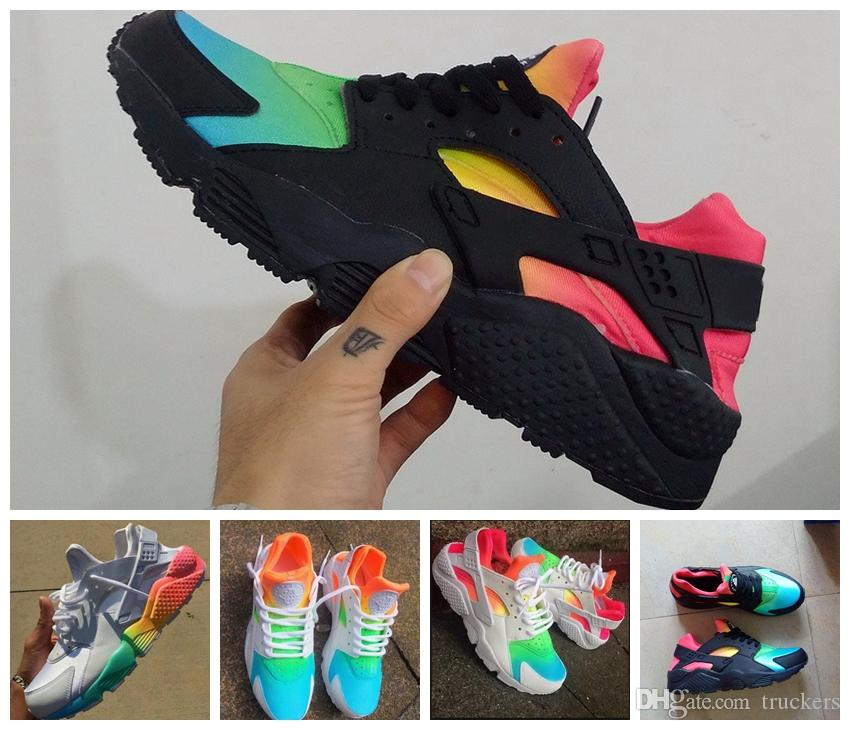 e74e236eefd8a 2016 New Air Huarache Ultra Running Shoes Huaraches Rainbow Ultra Breathe  Shoes Men And Women Huraches Multicolor Sneakers Size 36 46 Trail Running  Shoes ...