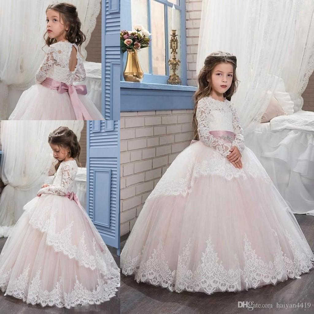 2017 Flower Girl Dresses Cupcake Long Sleeves Lace Applique Hollow Back Sashes Bow Tiered Child Pageant Dresses Flower Girl Wedding Dresses