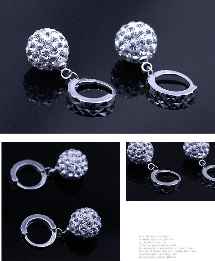 Full Rhinestone Disco Ball Pendant Earrings Austrian Crystal Dangle Silver Earring Women Wedding Eardrop for Party Jewelry
