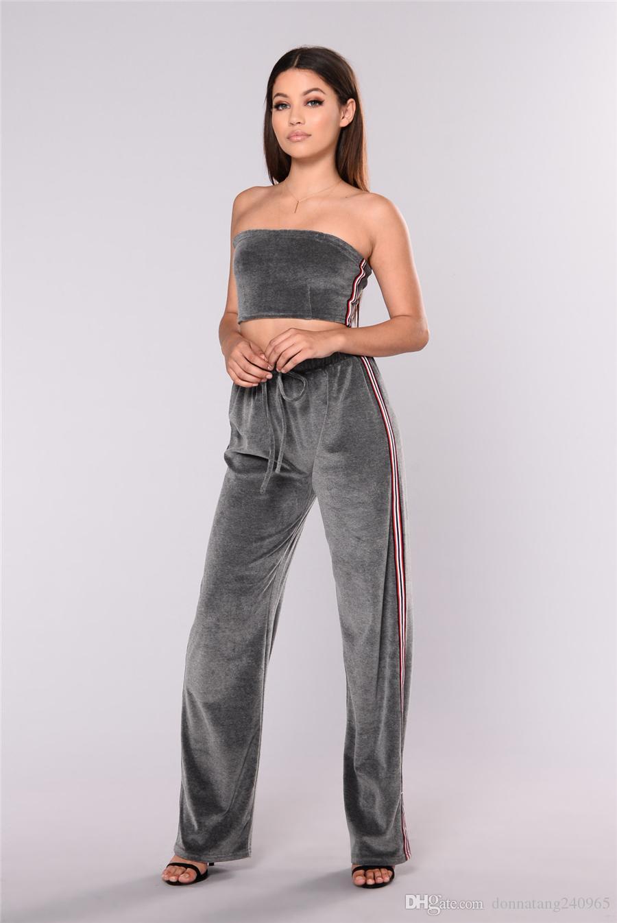 2017 Summer Set Women wide leg pants set off the shoulder Crop Top+Wide Leg Pants women clothing set
