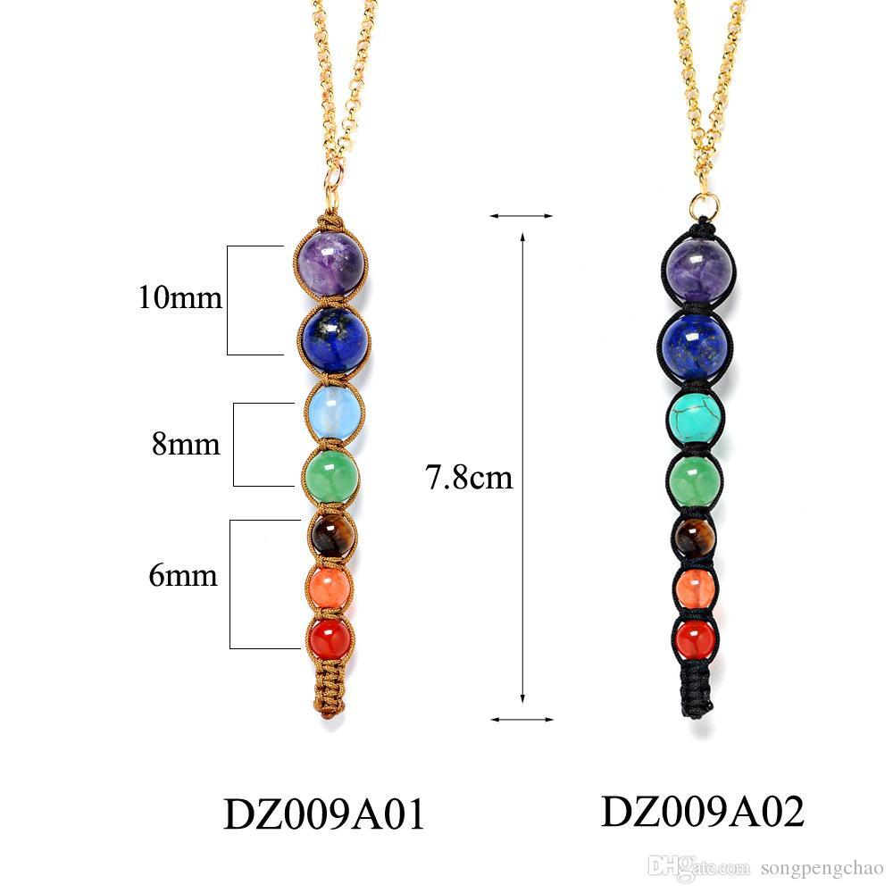 New Design Healing Balancing Jewelry Fashion Long Natural Stone Choker Necklace 7 Chakra Beads Pendant Chain Necklace Women Yoga Reiki