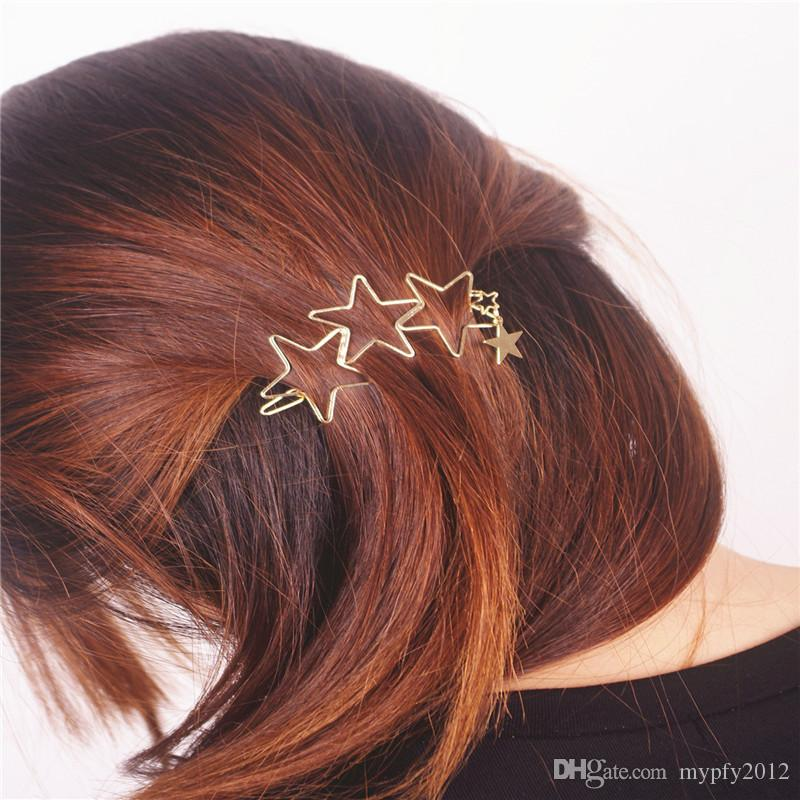 New Fashion Hair Jewelry Gold Color Hollow Out Star Geometric Hair Clips Hairwear For Women XR