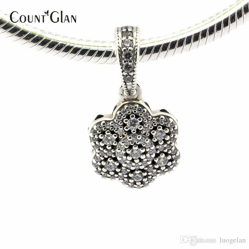 Grânulos de flora cristalizado se encaixa pandora encantos pulseiras de prata original 925 grânulos de cristal para fazer jóias com zircônia cúbica