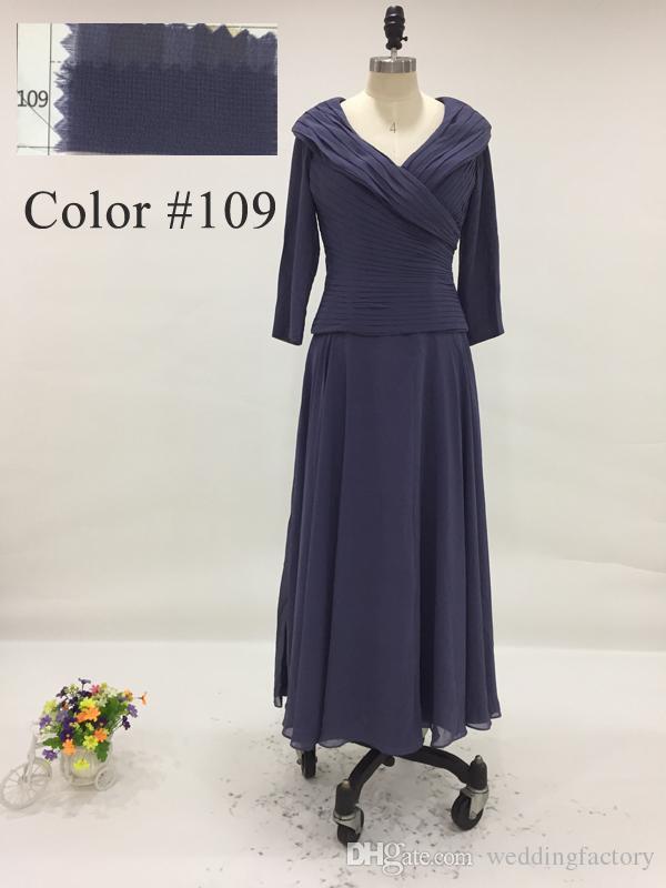 Immagine reale Dark Navy Custom Colours Lunghezza tè Abiti la madre della sposa con maniche scollo a V Increspato Abito da sposo gli ospiti
