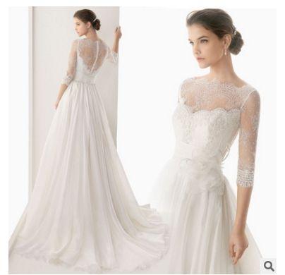 Gorgeous Court French Lace Full Sleeve Wedding Dress With Beading ...