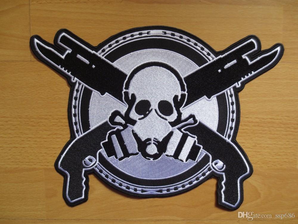 Ceket Motosiklet Kulübü Biker MC özel 30cm * 22cm çift tabancaları Nakış Yamalar ile 11.8 inç kafatası