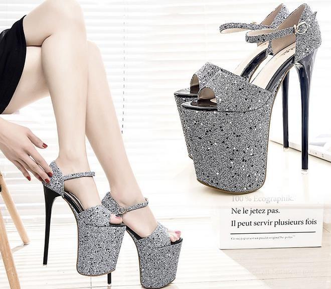 Plus Size 35-43 19cm Super High Heels Summer Women Sandals Hollow Out Platform Buckle Strap Sequined Leaether Women Fashion Sandals Open Toe