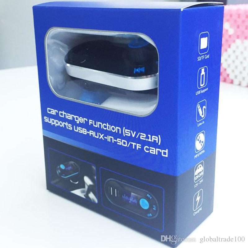 Best Bluetooth Car Kit vivavoce lettore MP3 con trasmettitore FM Dual 2 USB caricabatteria da auto Supporto linea SD AUX T66