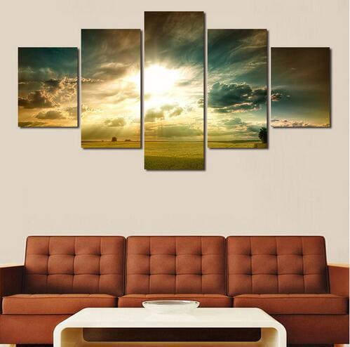 New Hot 5pcsThe Sunset Seascape Print Oil Painting Picture Canvas Painting On Wall Pictures For Living Room Decor Hang Paintings