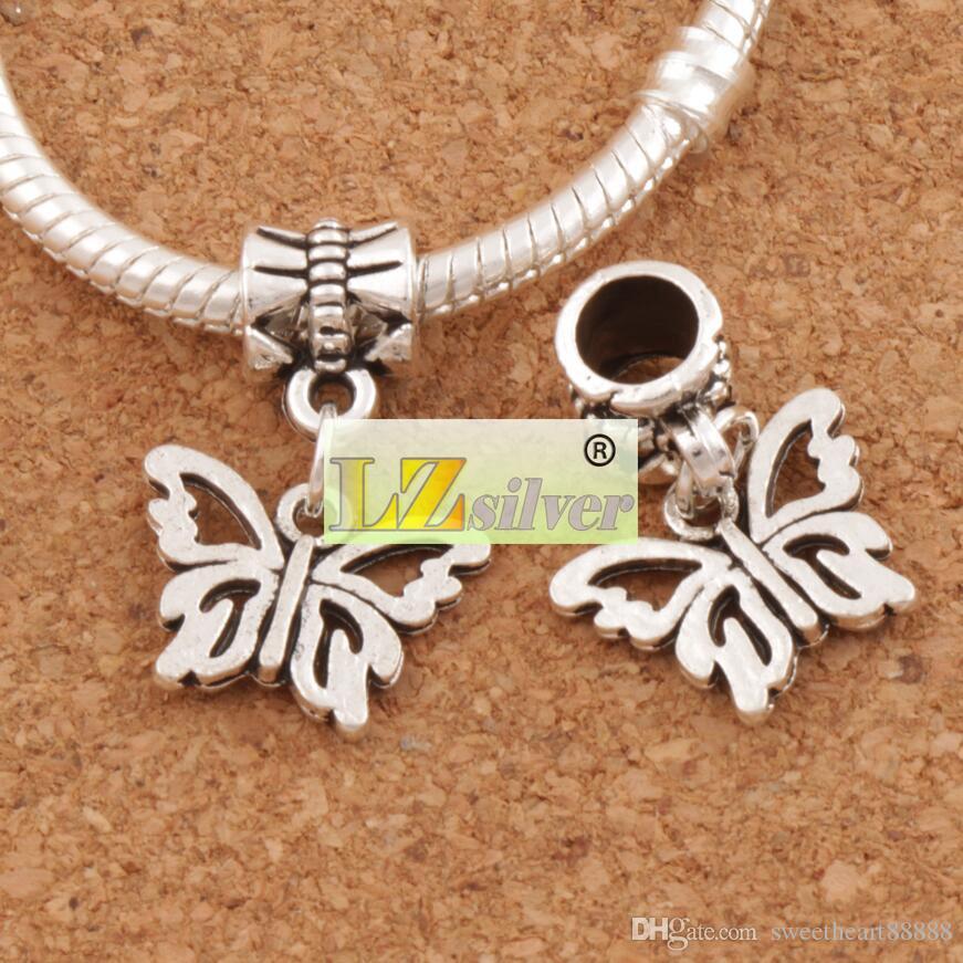 Ouvert Fleur Papilio Papillon Grand Trou Perles / Antique Argent Fit Européen Bracelets À Breloques Bijoux DIY B1108 15x30mm