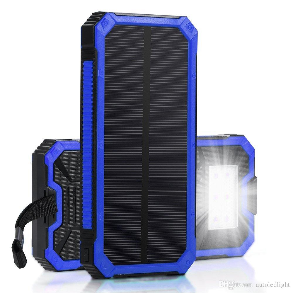 Solar Charger, Portable 15000mAh Solar Battery Charger Dual USB Solar Phone Charger Power Bank Backup Battery with 6 LED Flashlight