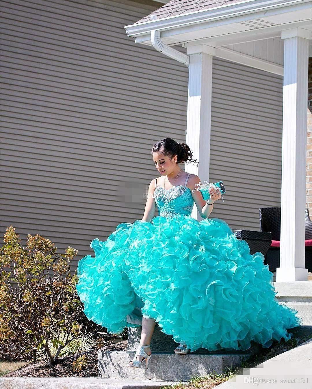2019 Turquoise Sweet 16 Debutantes Party Queen Dresses Sweetheart Crystals Beaded Ruffles Organza Corset Back Plus Size Quinceanera Dresses