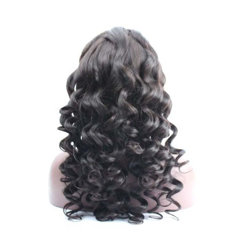 Parrucche peruviane parrucche peruviane capelli lisci parrucca piena del merletto dell'onda sciolto le donne nere 7A Trasporto libero di alta qualità